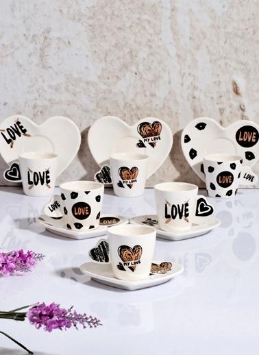 La Vita Bella Love Desen Lüx Porselen 6'Lı Kahve Fincan Tk Siyah